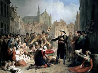Burgemeester Van der Werff biedt zijn arm aan als eten. Als de bevolking zich maar niet overgeeft aan de Spanjaarden, zo wil het verhaal dat vermoedelijk niet echt is gebeurd.